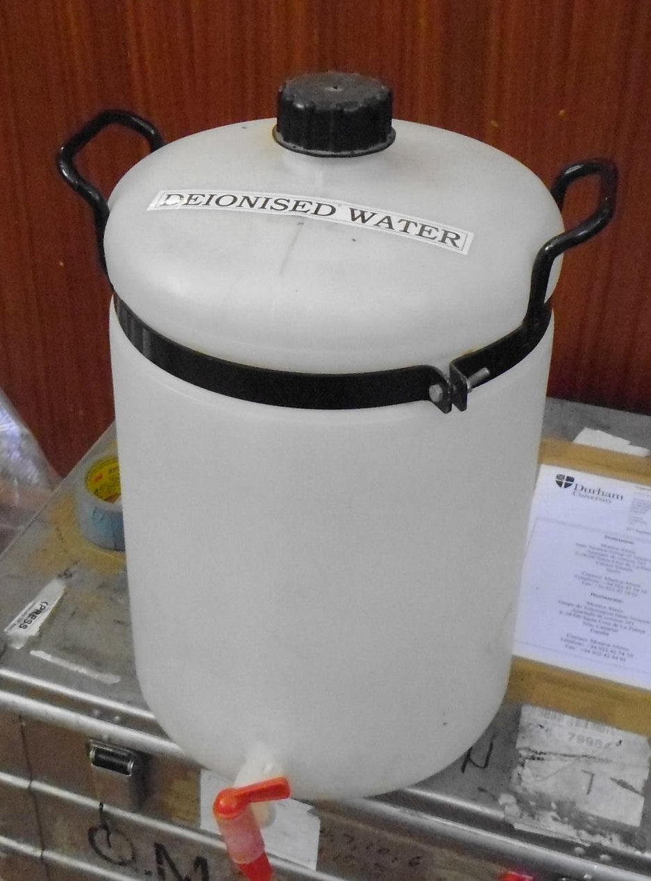 Deionized water in its original container