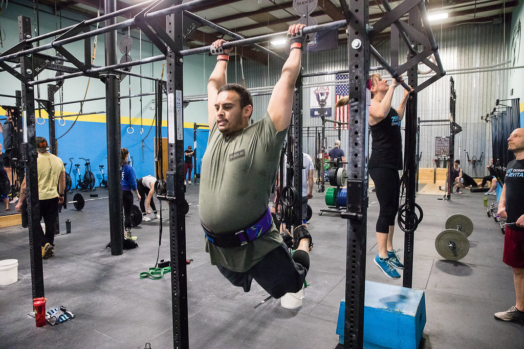 Jay completing CrossFit Open Workout 18.5 in March 2018