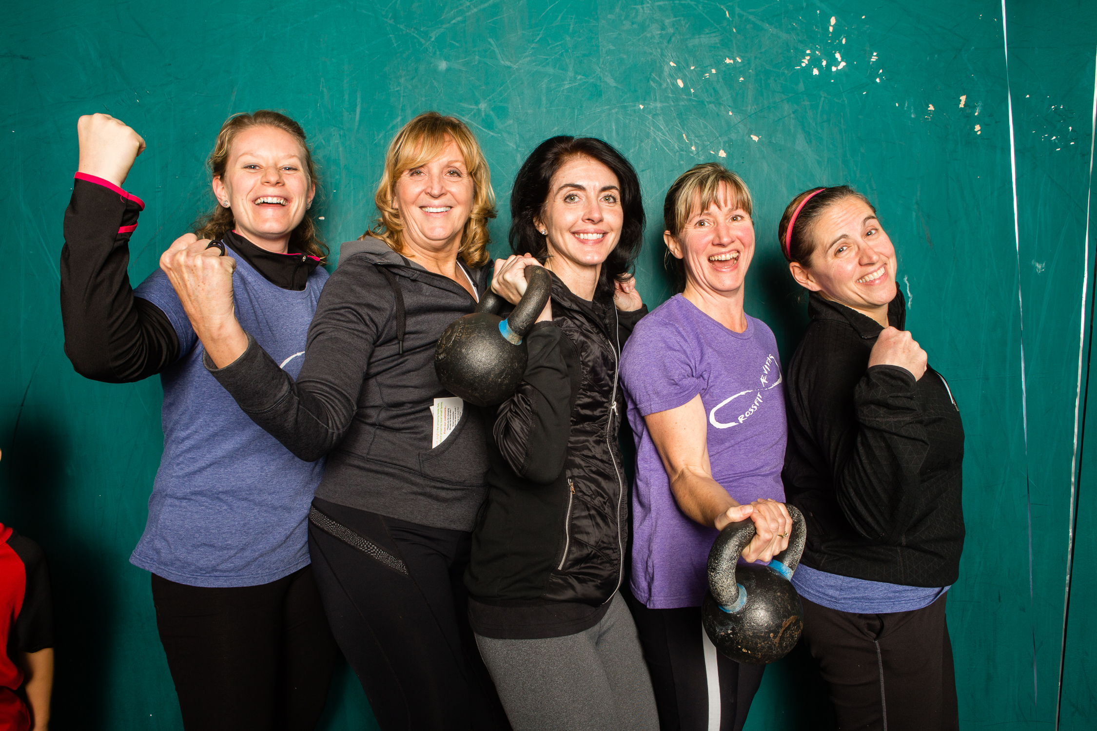 Mary and friends at the CrossFit Aevitas 1 Year Anniversary party in 2014. Mary is second from the left.