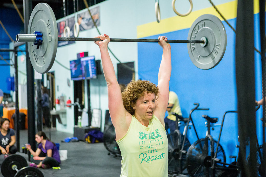 Jackie completing CrossFit Open Workout 17.5 in March 2017