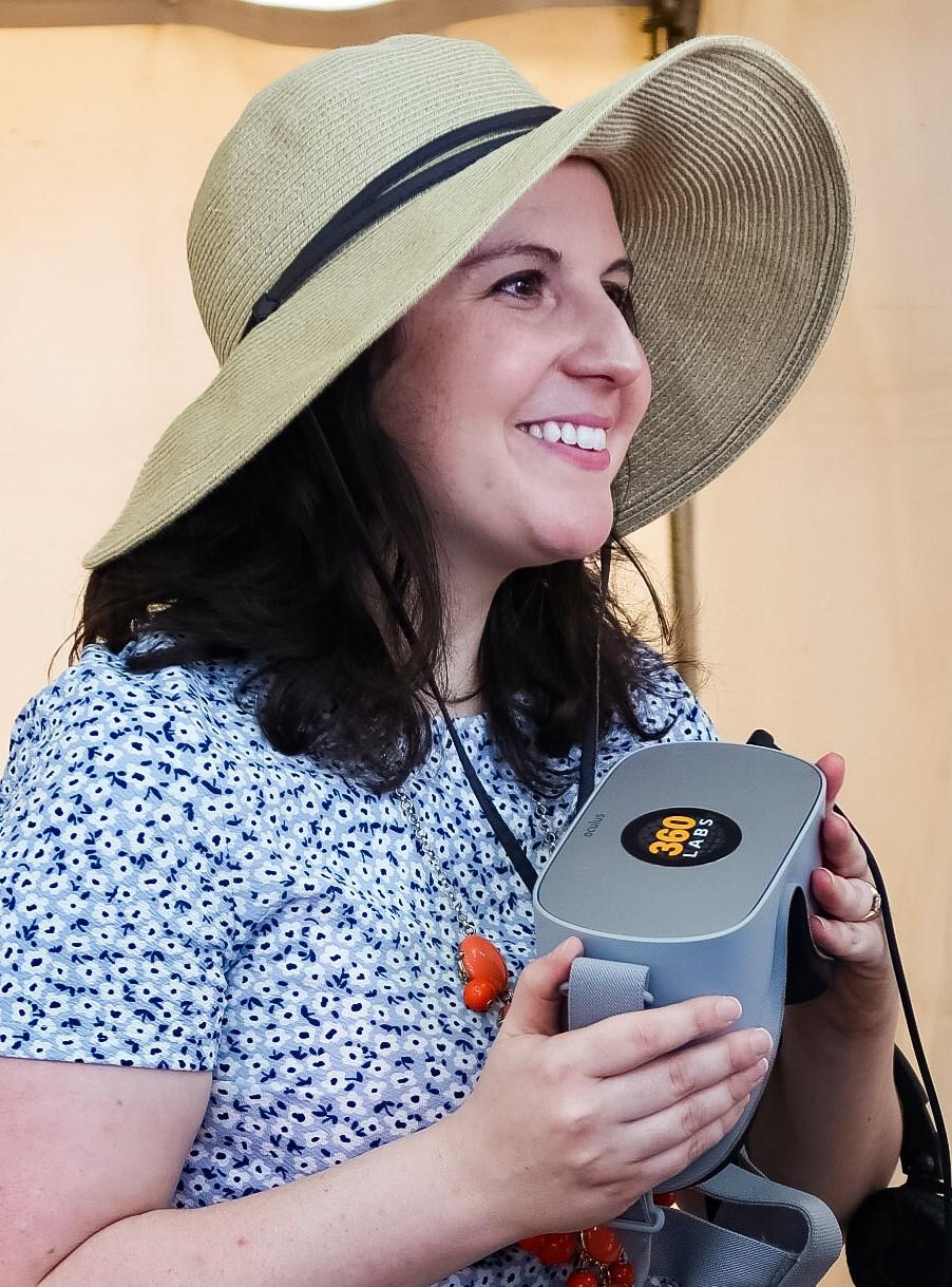 Rachel with headset at Pride.jpg