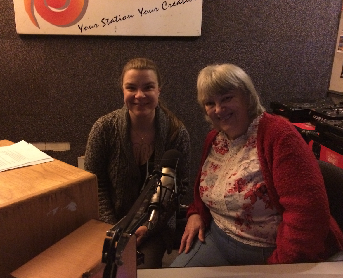 Delaina and Trish passing over  Aye Lassie  episodes to Sunny G Radio, March 2019
