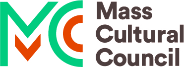 MCC logo: M & C outlined in blue and orange with Mass Cultural Council to the left of the logo.