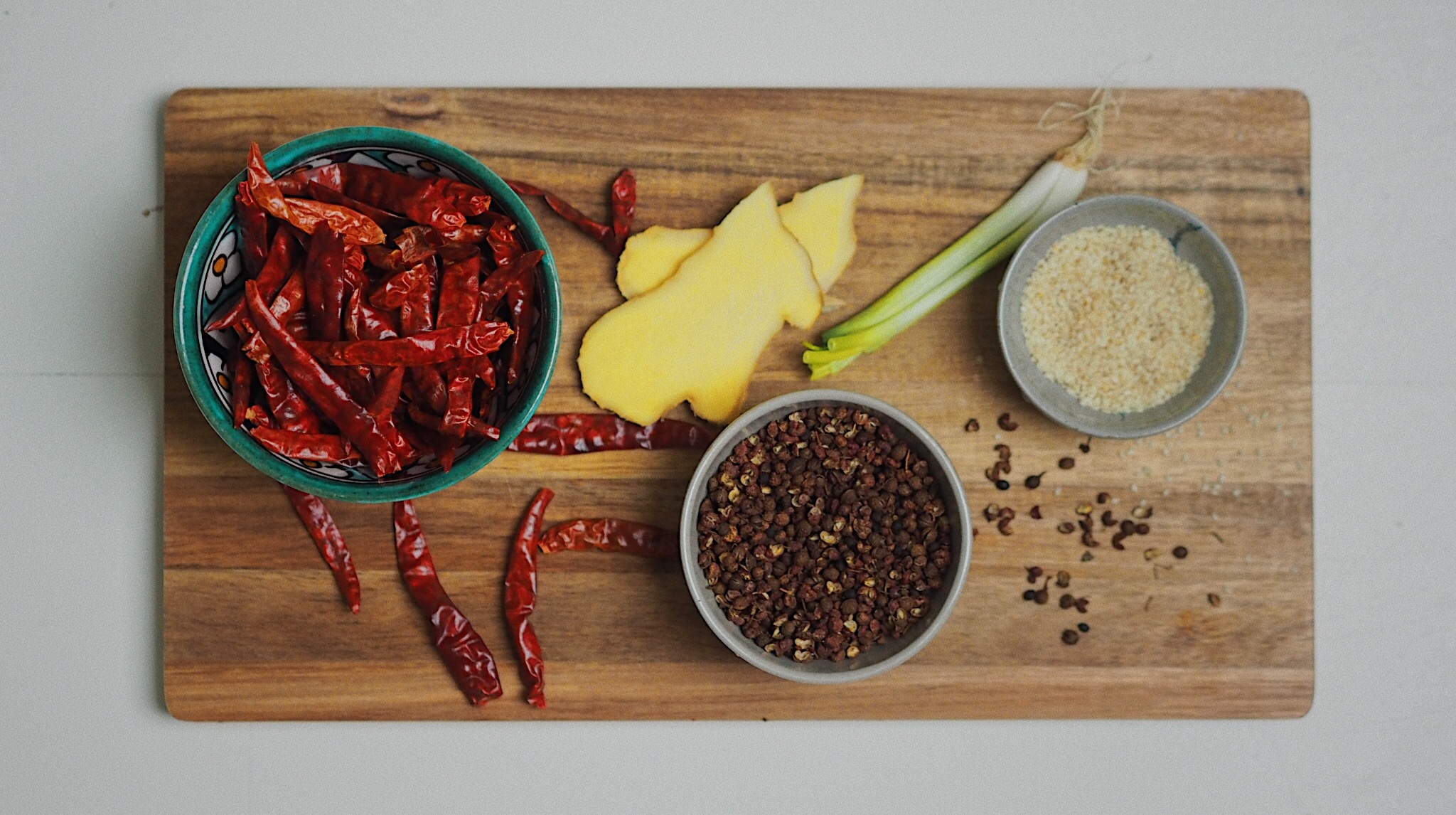 All ingredients you need for a Sichuan style spicy and tingling.