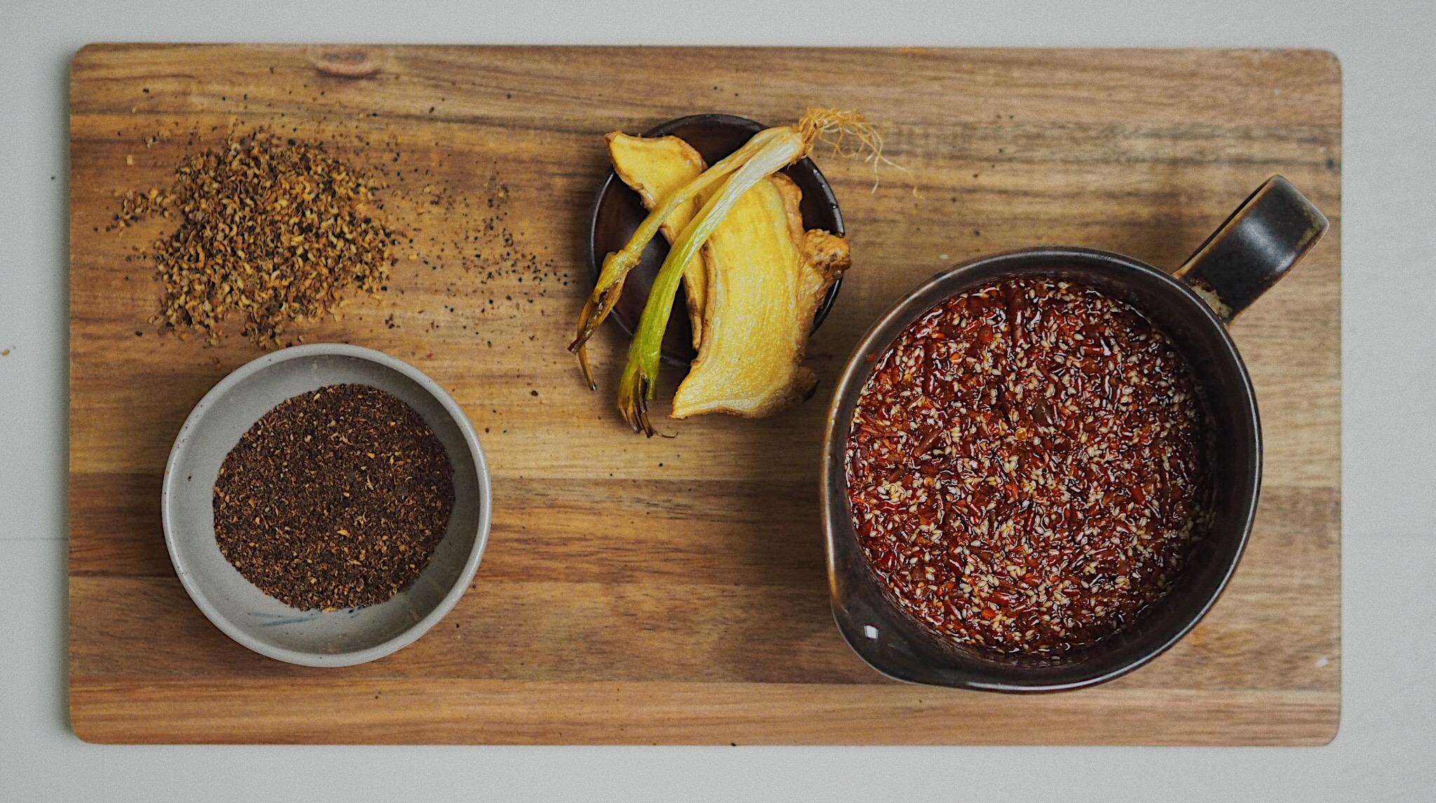 Left: Sichuan pepper powder. Right: Chilli oil.