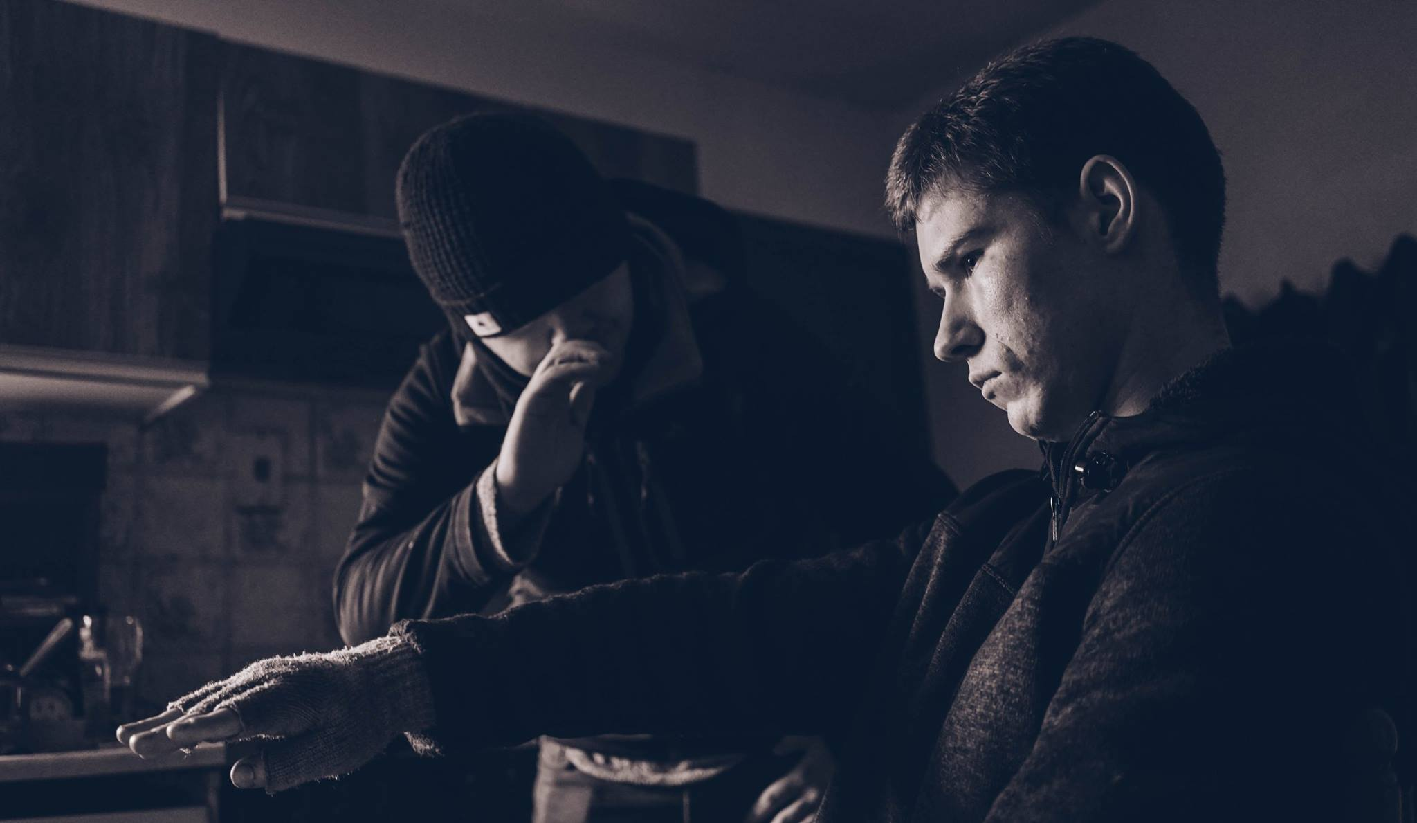 Brendan McCallion and actor Patrick Loftus (Tommy) on the set of Backwater. Photo by Cormac Campbell.