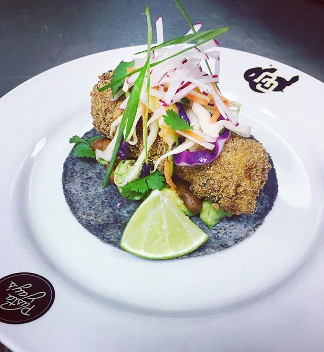 Beautifully made Baja fish taco from @carlssolomon using our blue corn tortilla. Get yours at pinoleblue.com
