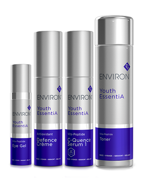 YOUTH ESSENTIA RANGE: CONTAINS THE UNIQUE AND PREMIUM VITAMIN STEP-UP SYSTEM.
