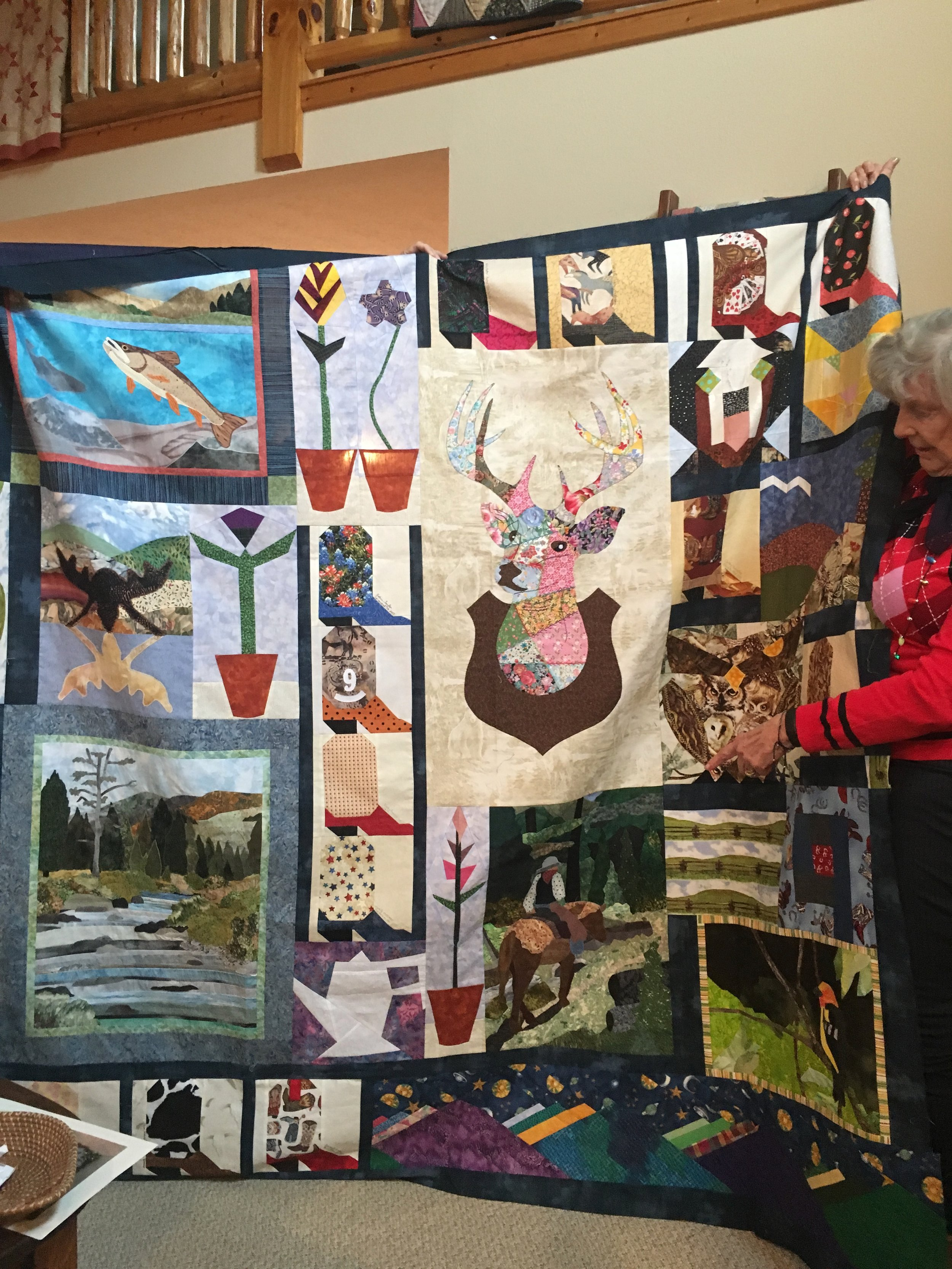 """Finally, I got to brag about my Ranch wall hanging assembled after """"stewing"""" on the design wall forever. Now to make the quilting decisions."""