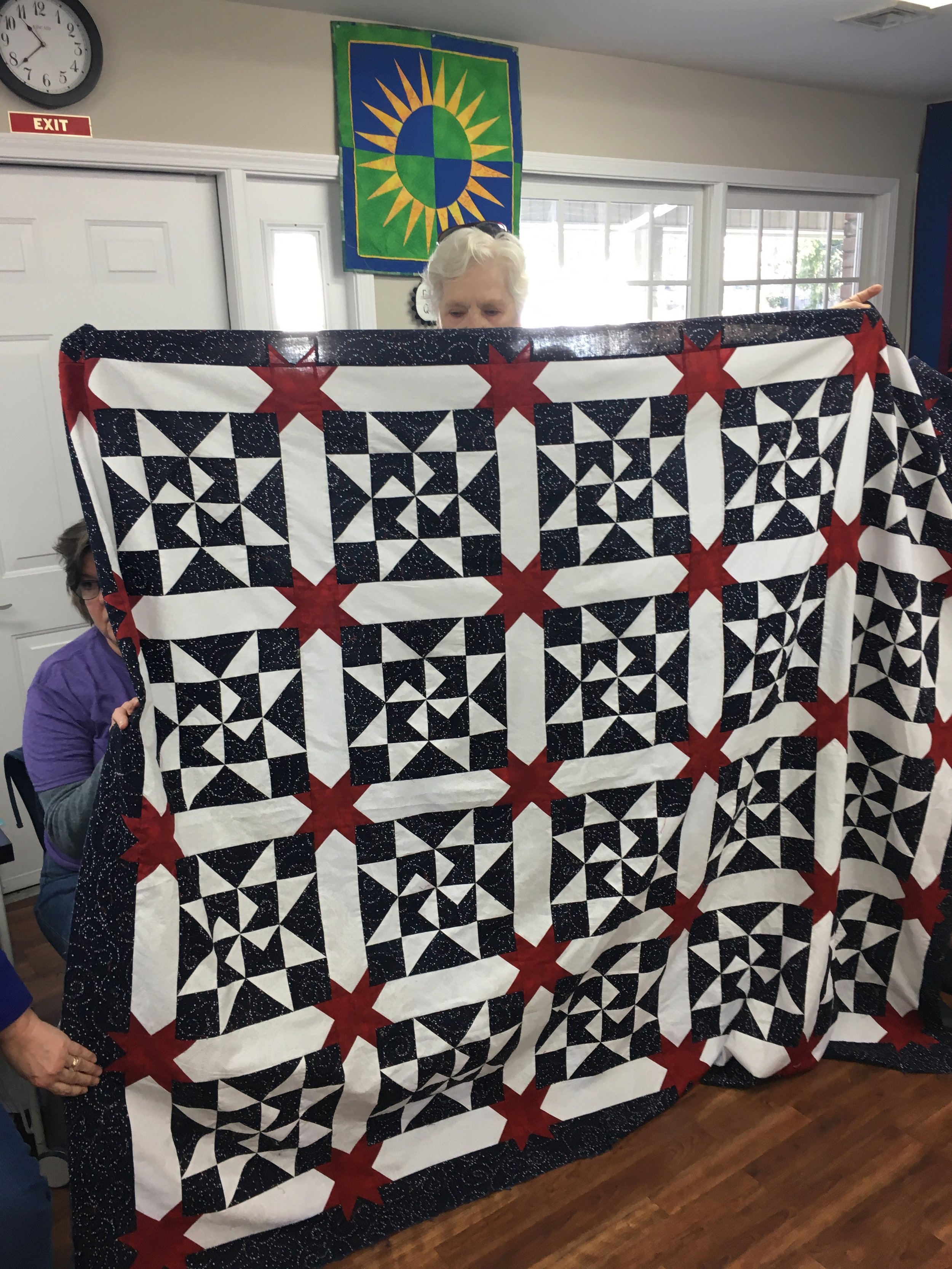 Judy has done it again with a fabulous Quilts of Valor quilt top. Some fortunate veteran will enjoy this.