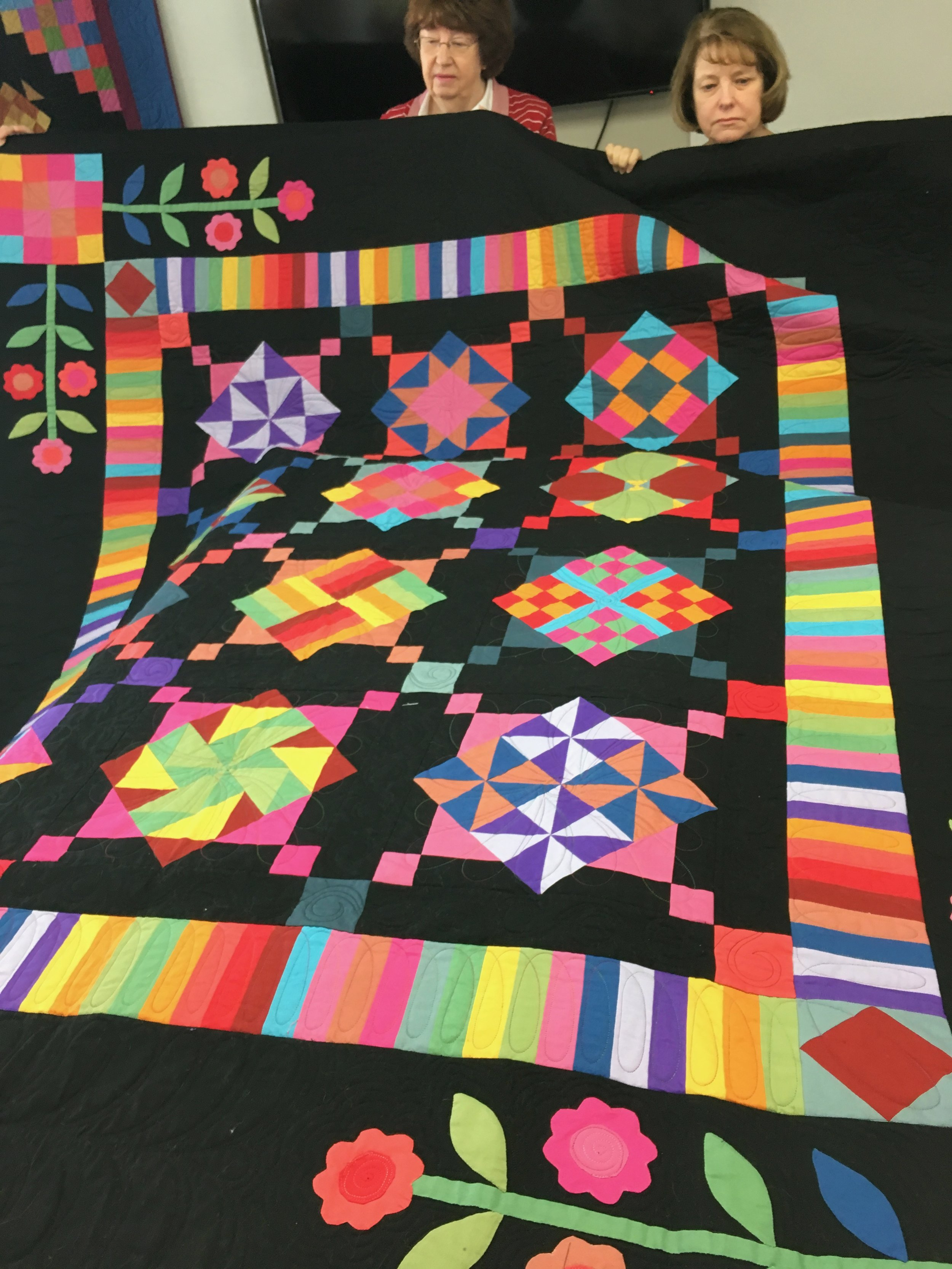 Connie deviated from her usual pastel fabrics and went all out in this bright Block of the Month quilt she taught at Elaine's Attic in Landrum, SC
