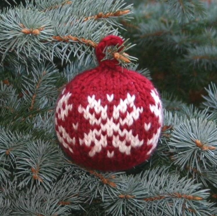 """The """"Two Strands Christmas Ball"""", a free Christmas ornament knitting pattern that uses worsted weight stash scraps. - Click on the image to see the pattern. Save the pdf to your device. Copyright Mary Ann Stephens. For personal use only. Do not distribute."""