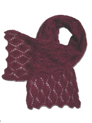 """""""Cherry Leaf Scarf"""", a free knitting pattern for a simple, but elegant, lace scarf. - Click on the image to see the pattern. Save the pdf to your device. Copyright Mary Ann Stephens. For personal use only. Do not distribute."""