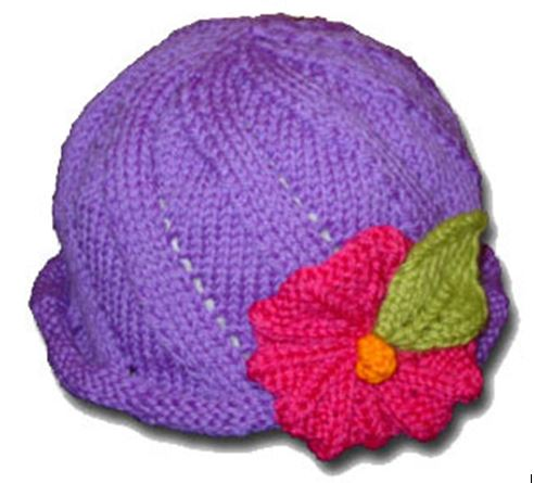 """""""Twist and Sprout Hat"""", a free knitting pattern for a simple lace hat in sizes for everyone with a rolled or ribbed brim, with or without a flower. - Click on the image to see the pattern. Save the pdf to your device. Copyright Mary Ann Stephens. For personal use only. Do not distribute."""