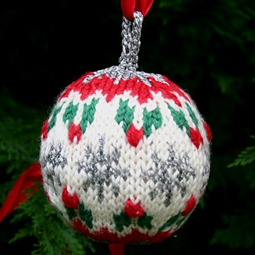 """""""Christmas Ball"""" collection - Holly Ball, one of three knitted Christmas ornaments included in this free knitting pattern pdf. - Click on the image to see the pattern. Save the pdf to your device. Copyright Mary Ann Stephens. For personal use only. Do not distribute."""