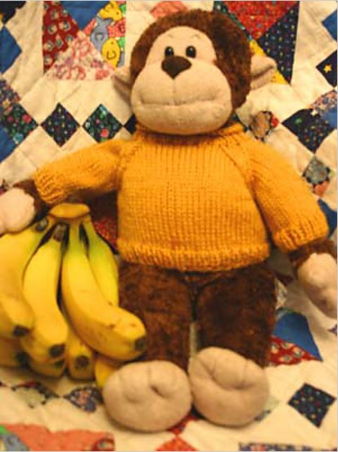 """Monkster's Sweater, a free knitting pattern pdf for raglan pullovers that fit many plush toys, including """"Build A Bears"""". - Click on the image to see the pattern. Save the pdf to your device. Copyright Mary Ann Stephens. For personal use only. Do not distribute."""