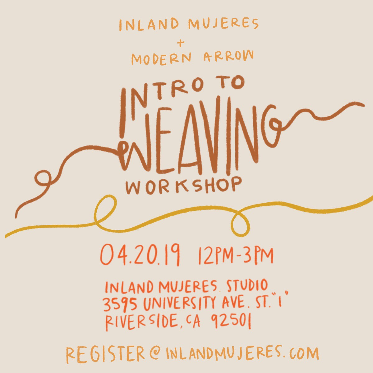 Join  Inland Mujeres  + fiber artist Lorena Zaragoza, founder of Modern Arrow for an intro to weaving workshop on  April 20th , 2019 from  12-3pm .  In this workshop, you'll learn essential techniques for creating a woven wall hanging. You will begin by choosing a color scheme of fibers, then move into foundational warping of a loom. Following this, you will learn how to create basic knots used for creating fringe. Then move into basic weaving including how to experiment with different fibers while utilizing various textures. Lastly, you will complete your weaving, remove it from the loom and learn how to tie it off to be attached to a wooden dowel for hanging.  Register   here