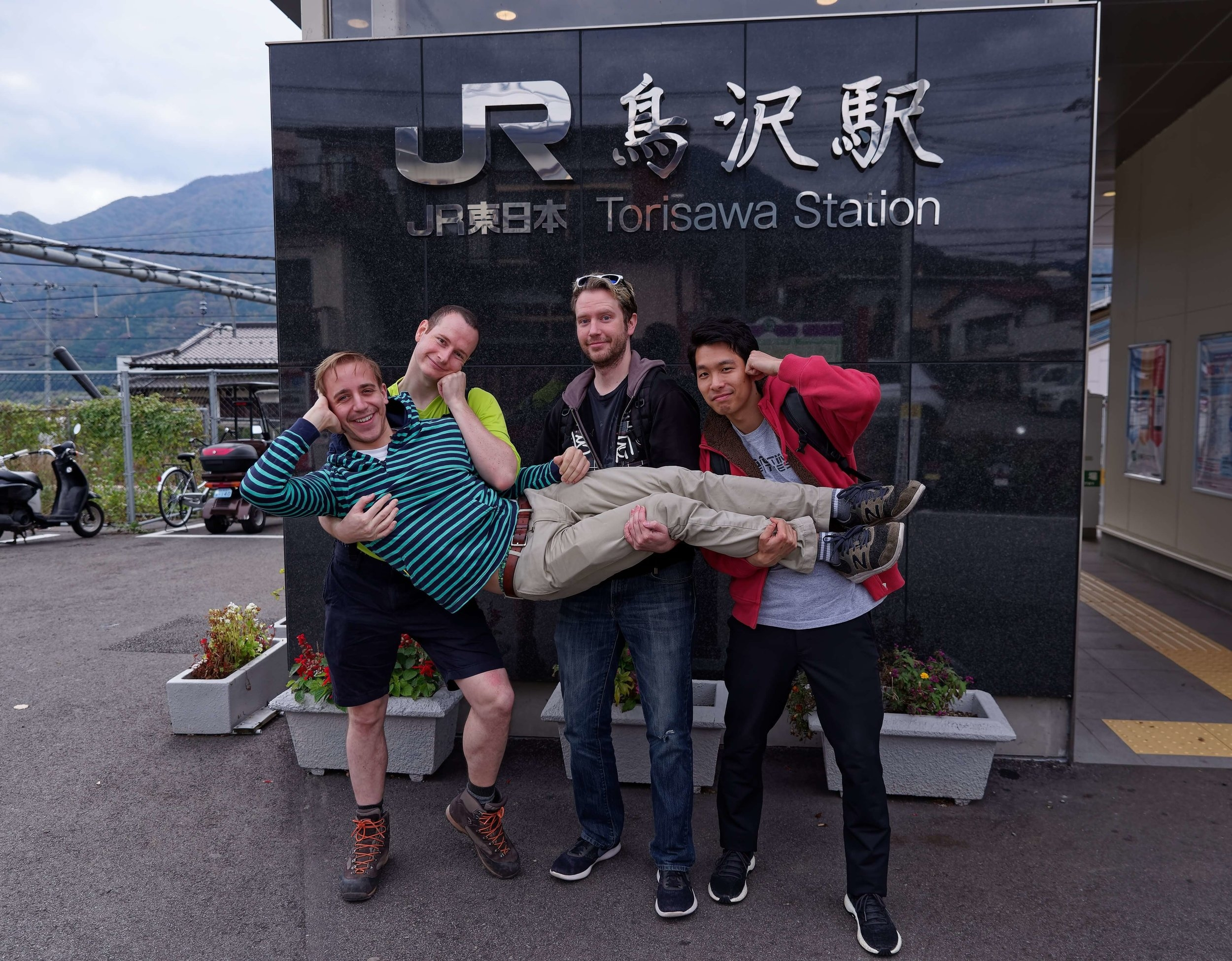 Cheesy Pre Hike Group photo at Torisawa Station