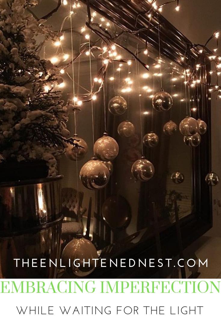 christmas mantel; christmas lights; vintage ornaments; silver.png