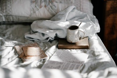 cozy bed; coffee in bed; read in bed; white bedding;cottage style jpg