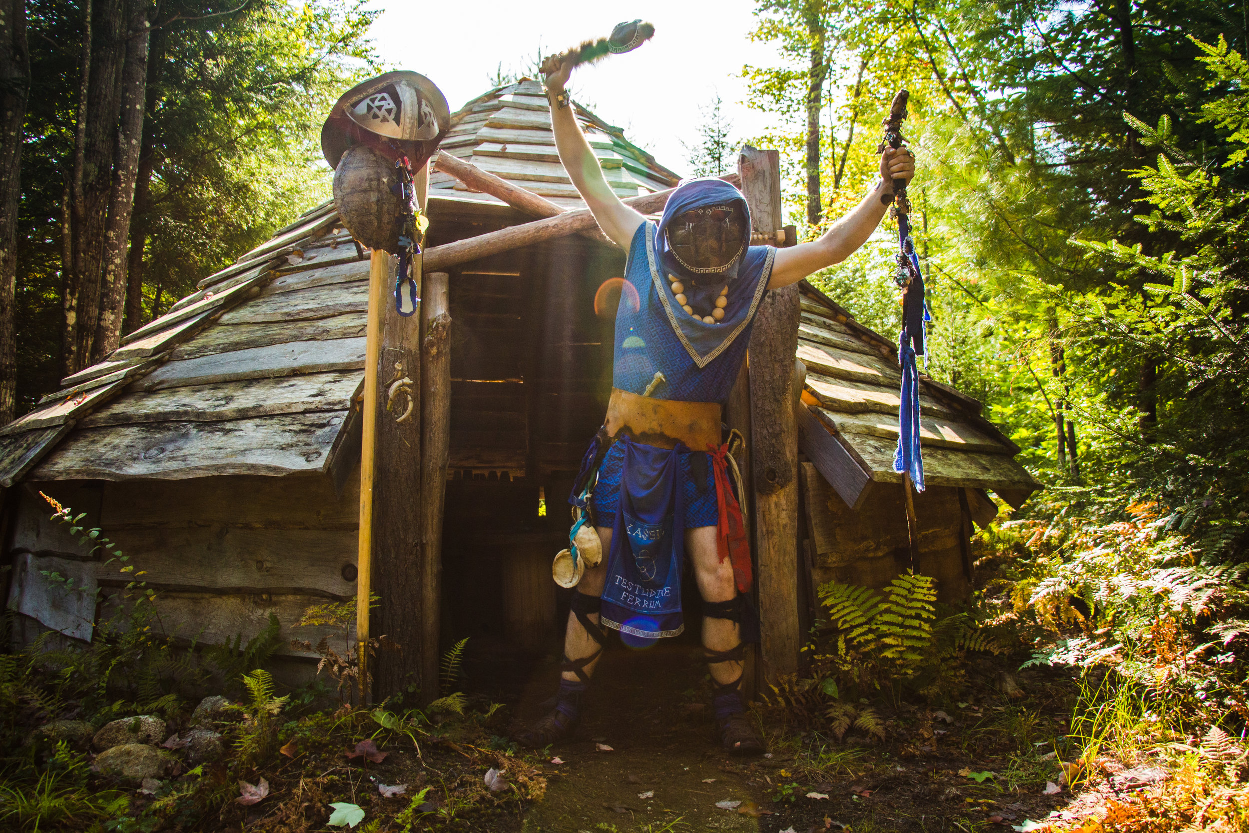 Kevin Dillard shows off his persona Caseus the Iron Turtle and all of the items he has made and collected for his kit. The shaman shack, Burgundar, September 18, 2017.