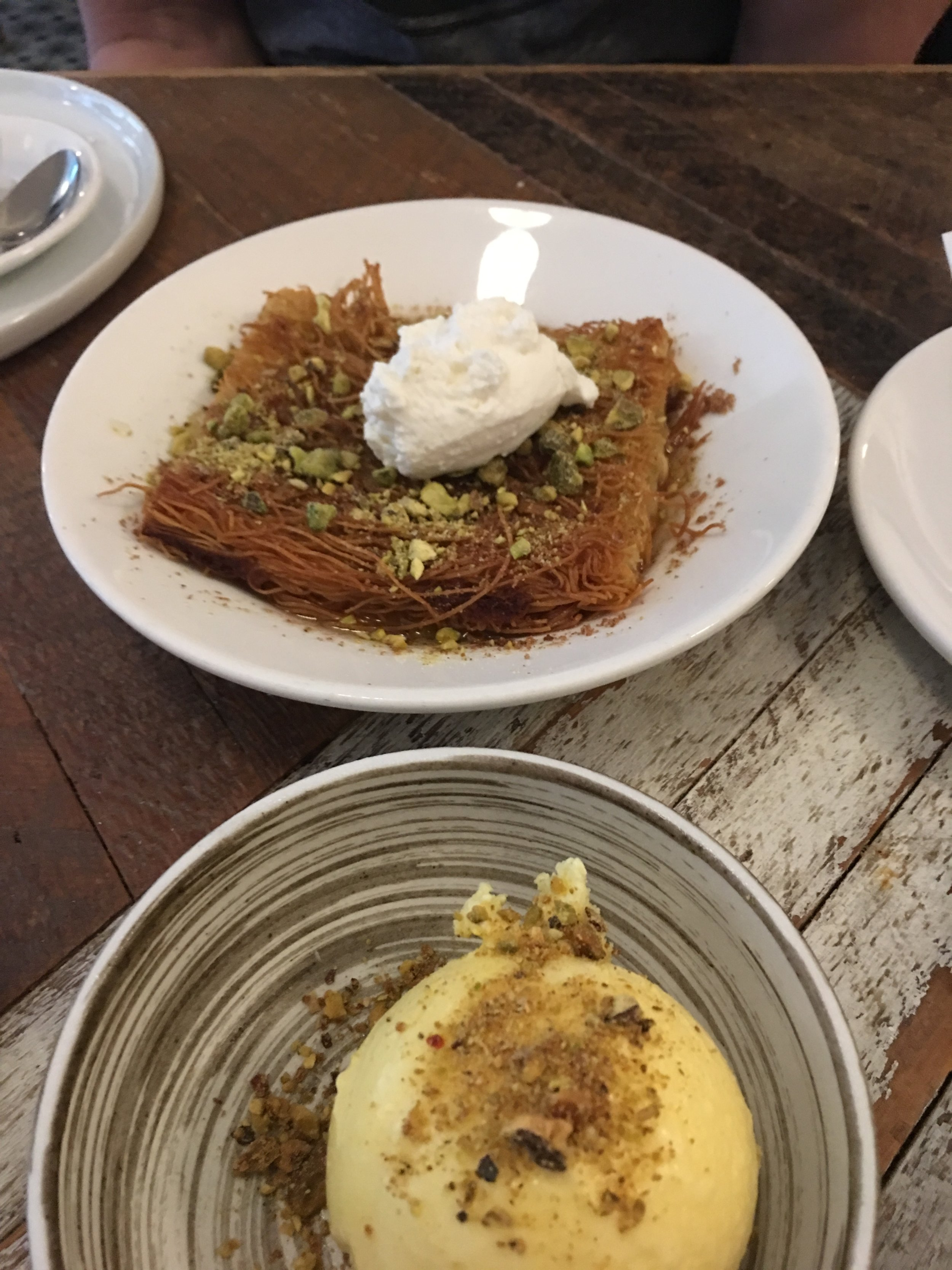 Knafeh and ice cream from Kubeh