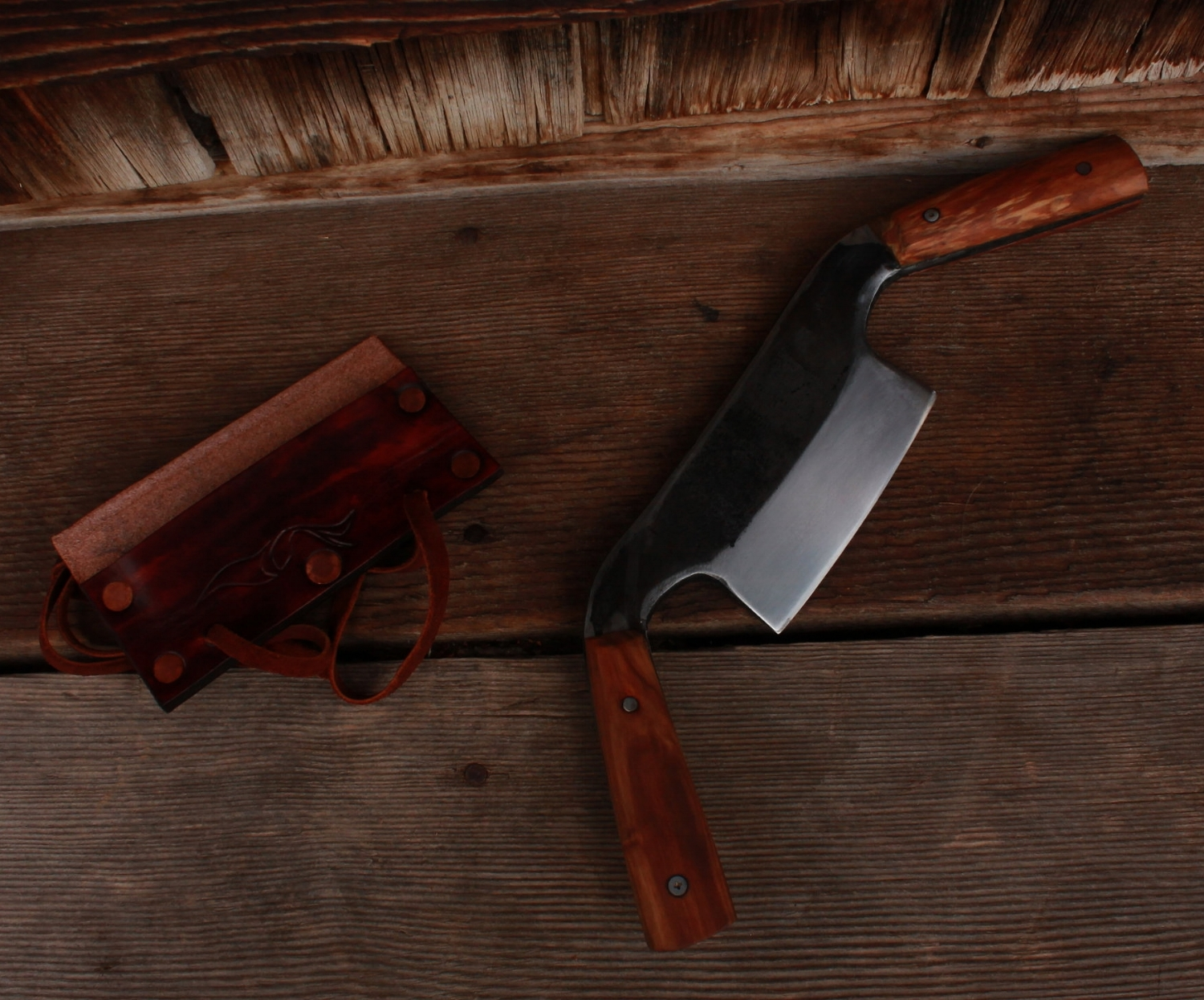 """Custom hand forged draw knife with a 4"""" straight edge. Bevel up. Apple wood handles."""