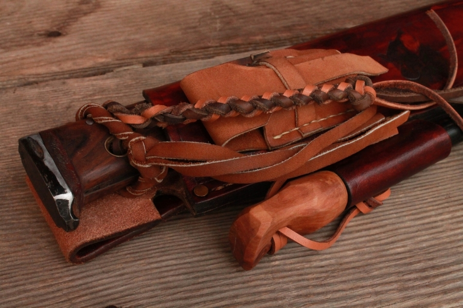 Handmade custom bushcraft knife sheath.
