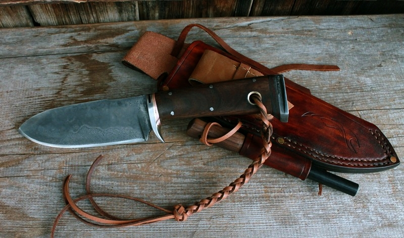 Handmade bush craft knife. Bushcraft sheath with a fire steel & touch up sharpening stone.