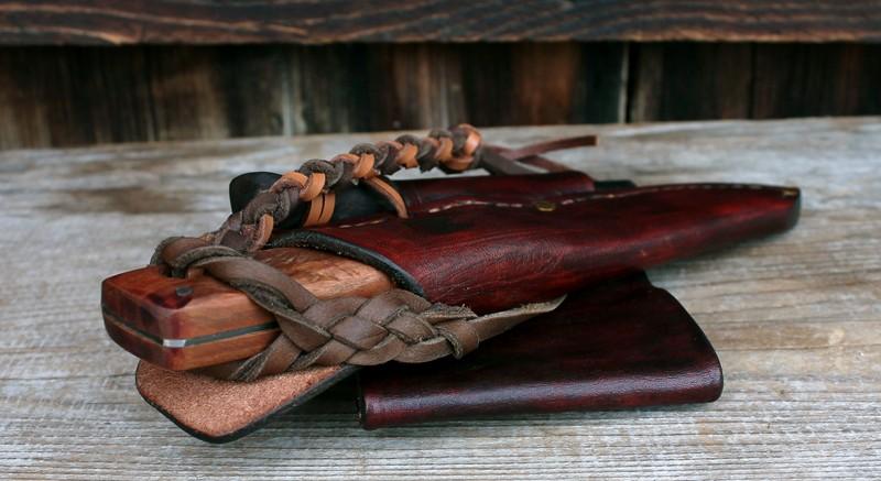 Woodland knife sheathed. Absolute knife security for horseback riding.