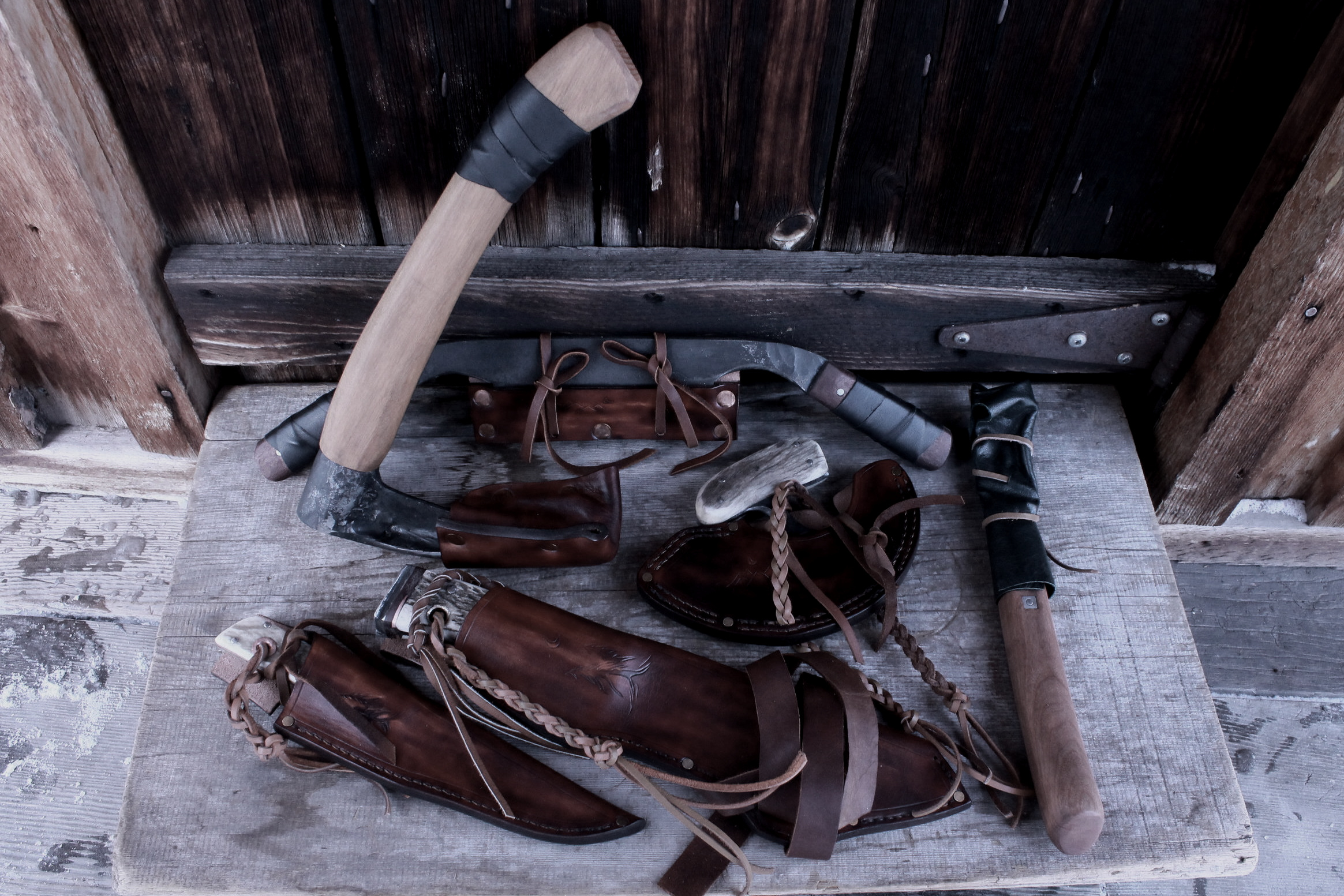 Handmade Survival Tools all protected their custom sheaths.