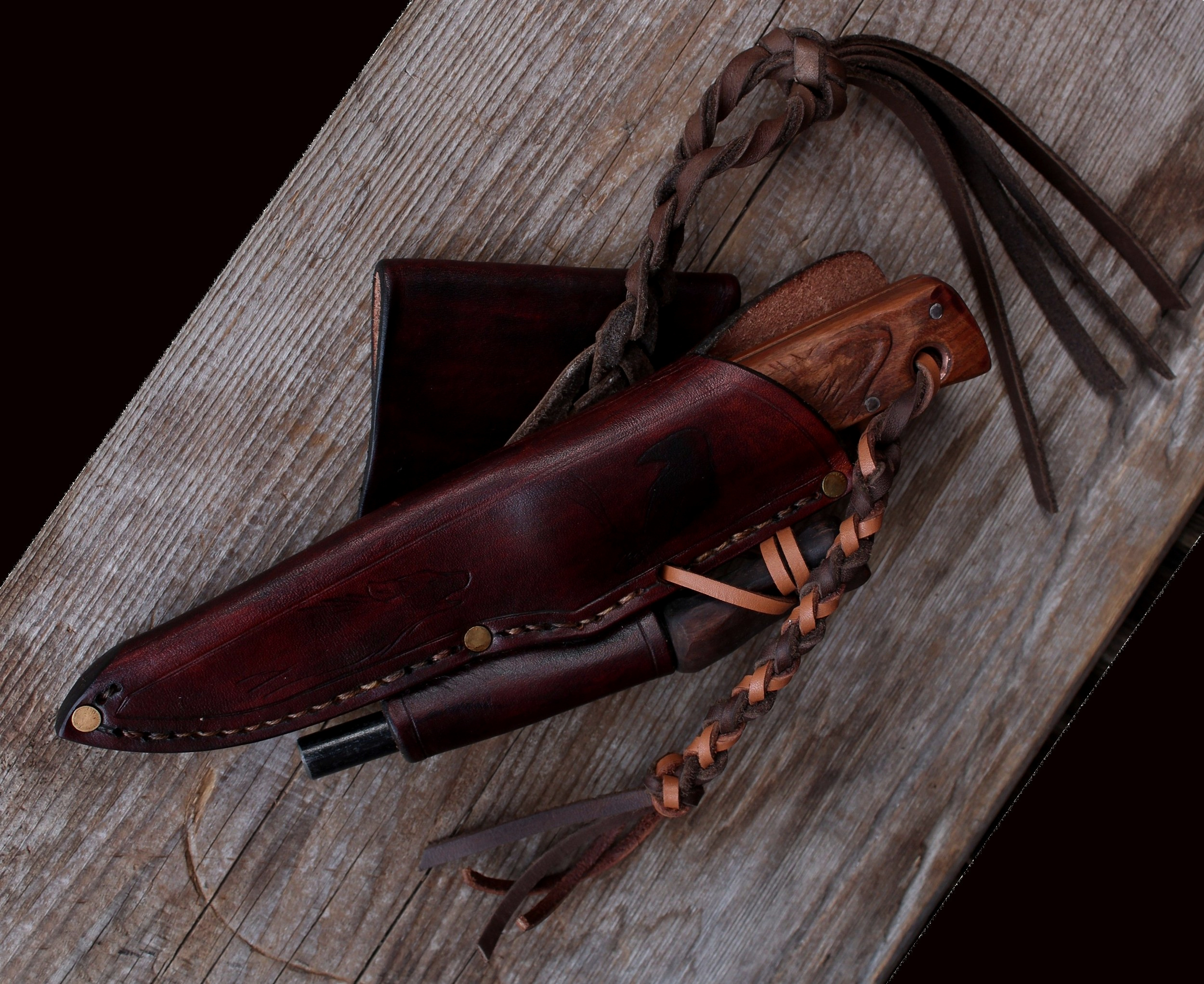 Custom made riding sheaths. Belt loops angled to a customers specs. The Woodland Rider.