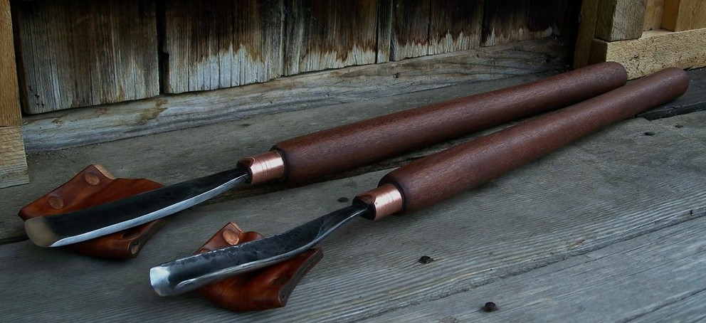 """Custom made wood carving tools. A 2"""" carver's slick and a 1 1/2""""cup slick (gouge). 26 inches overall."""