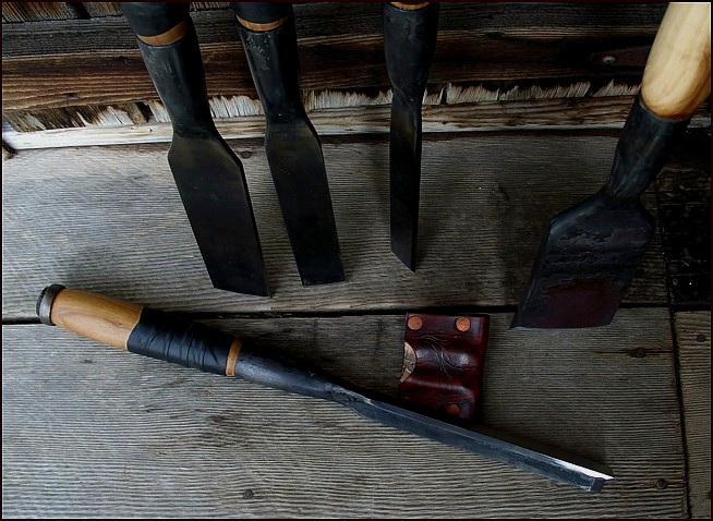 "Handmade custom timber framing chisels & slick. 20"" overall. Apple wood handles."