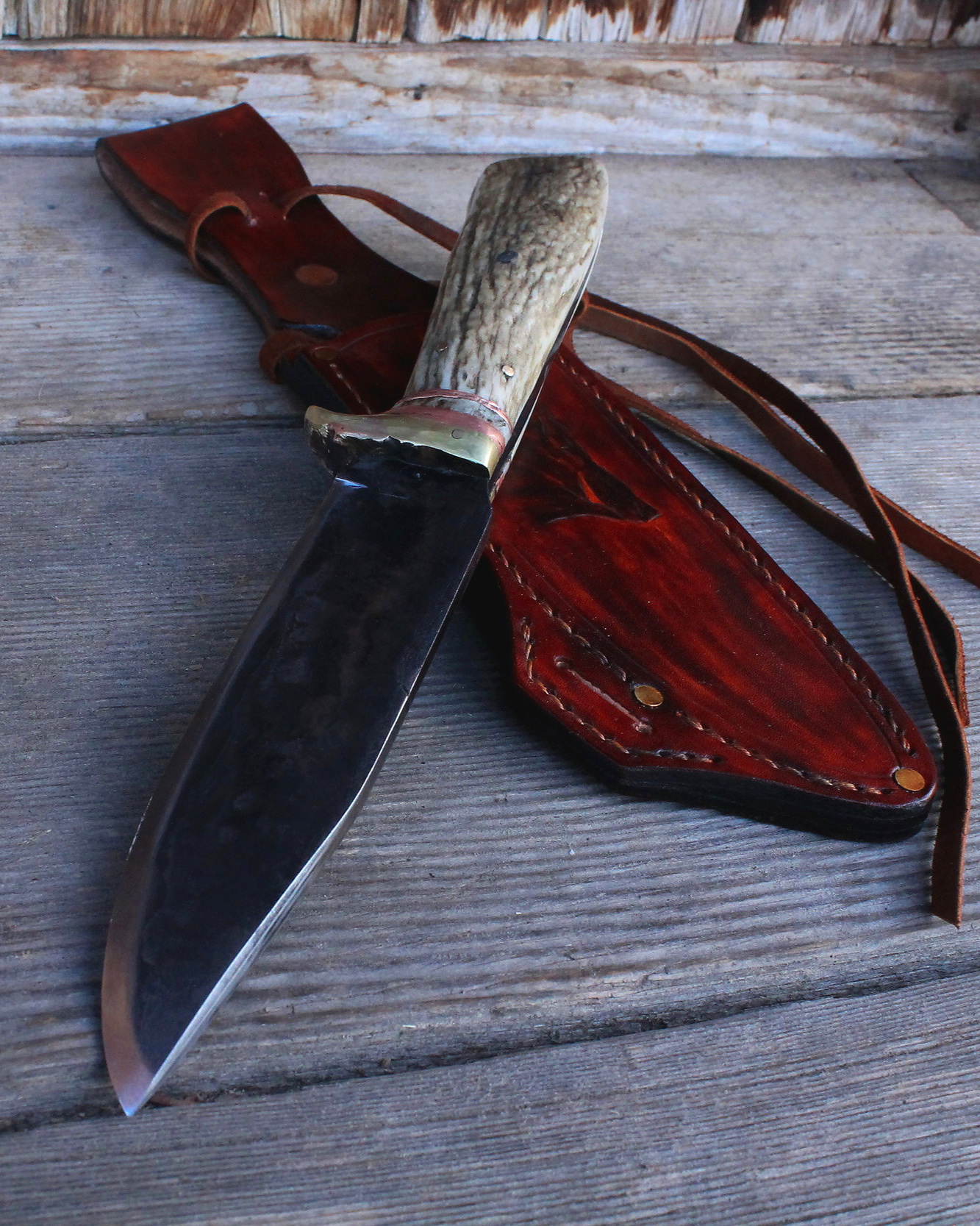"""Hand forged Boar survival knife. 7"""" blade."""