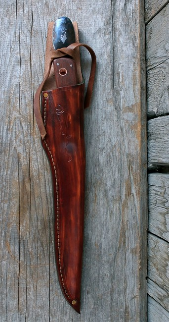 Handmade Custom Salmon Knife Sheathed