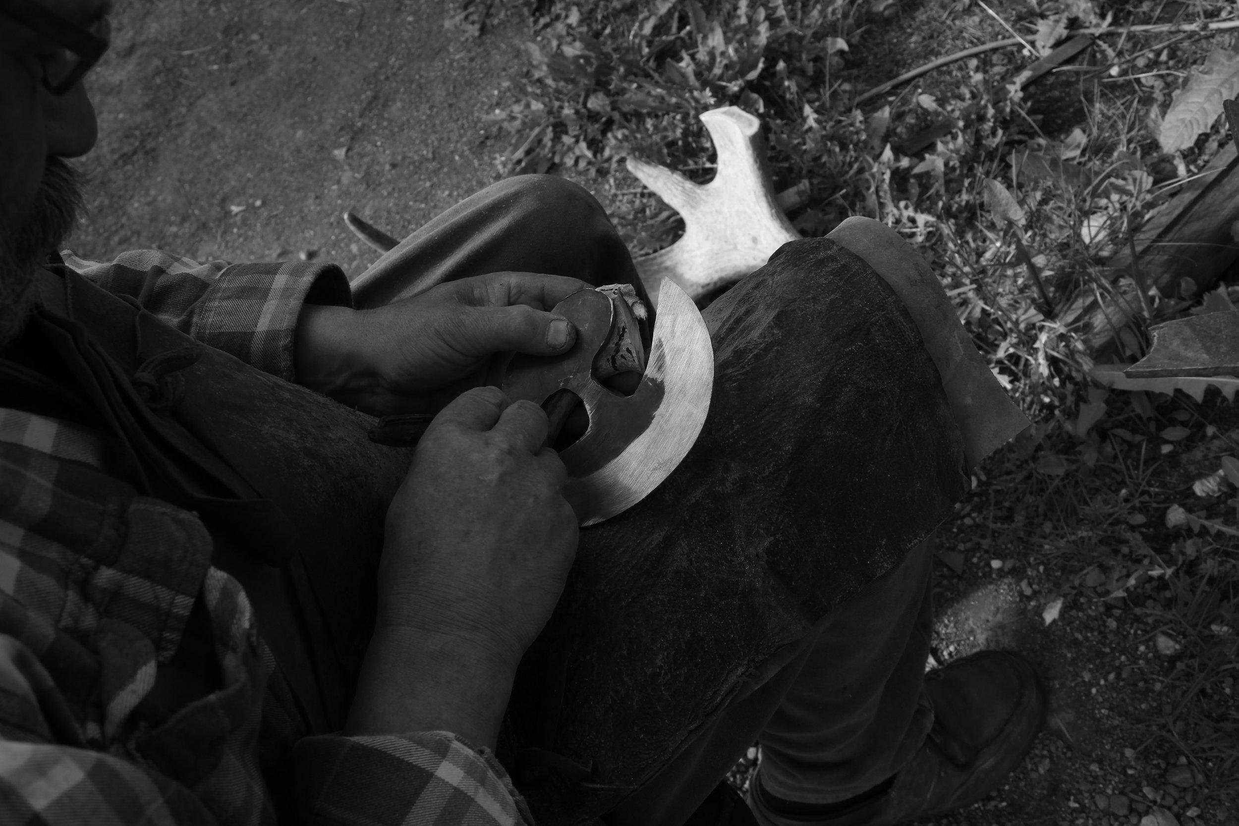 Making an ulu knife.