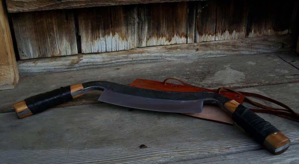 "Handmade custom drawknife. 8"" blade, 5"" full tang handles, butternut wood handle scales."