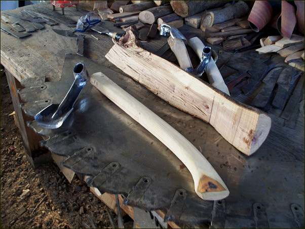 Custom made woodcarving adze. Cariboo Blades adze materials and construction.