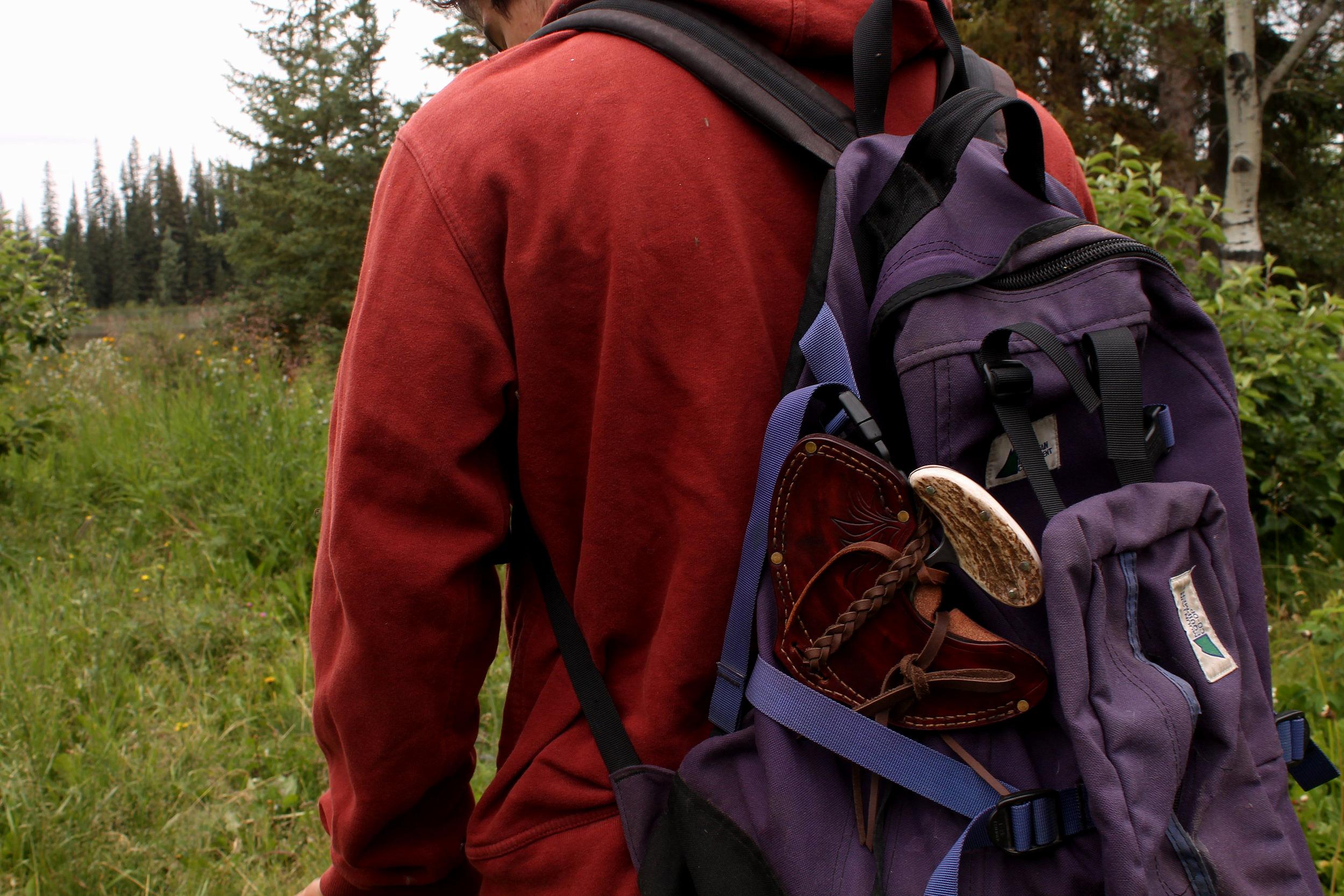 Packing a Cariboo Blades ulu on a hike.