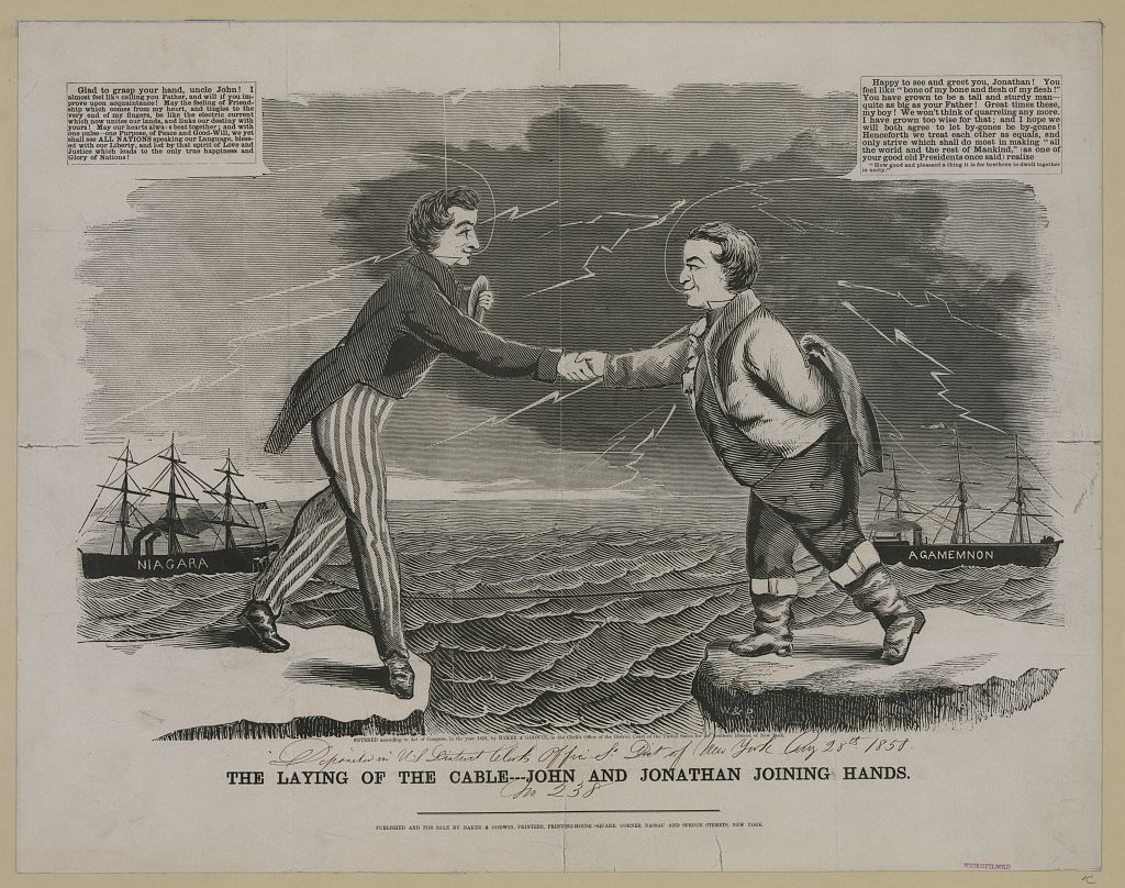 """""""The Laying of the Cable,"""" which commemorates the completion of the first transatlantic telegraph line. Woodcut with letterpress, Baker & Godwin Printers, New York, circa 1858. Courtesy of the Library of Congress"""