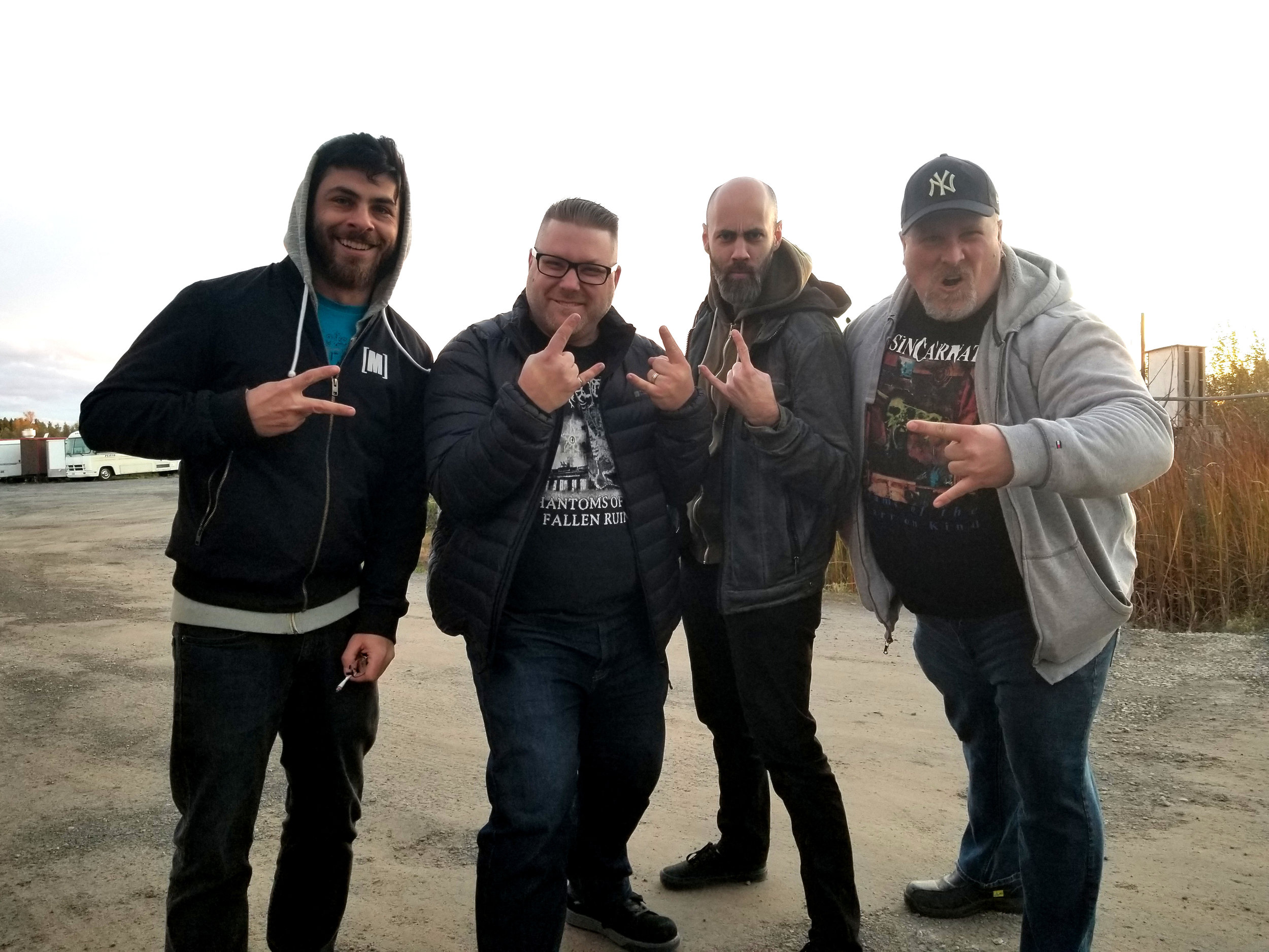 Left to right: Jeff Mahfoud, Neil Grandy (former drummer, Dichotic), Billy Stever, Jeff Caulder (former guitarist, Dichotic)