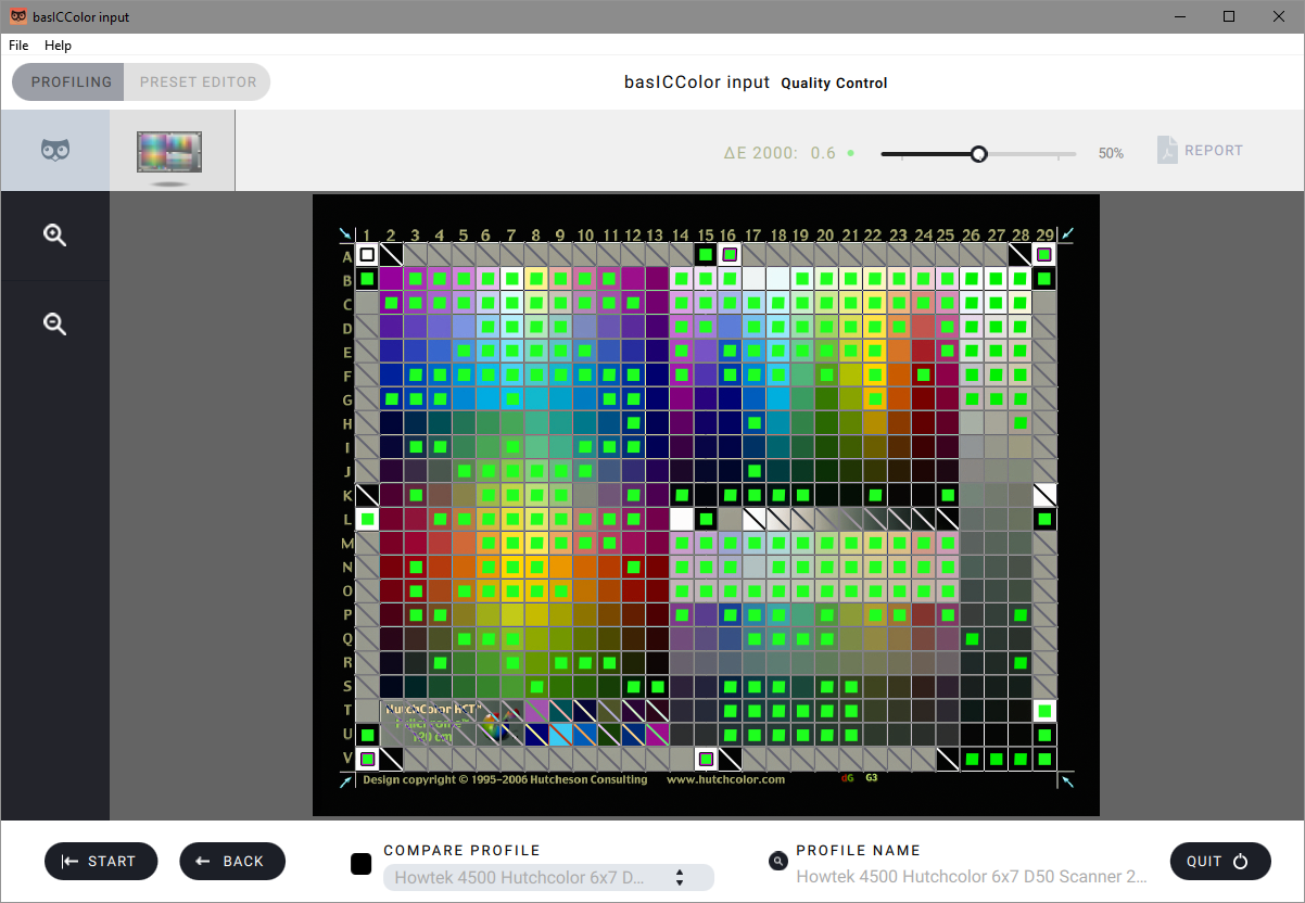 basICColor Input - This software creates the profile of the scanned target, comparing the reference files colours to the scanned target's. This enables us to provide the most accurate colour possible in our scans.