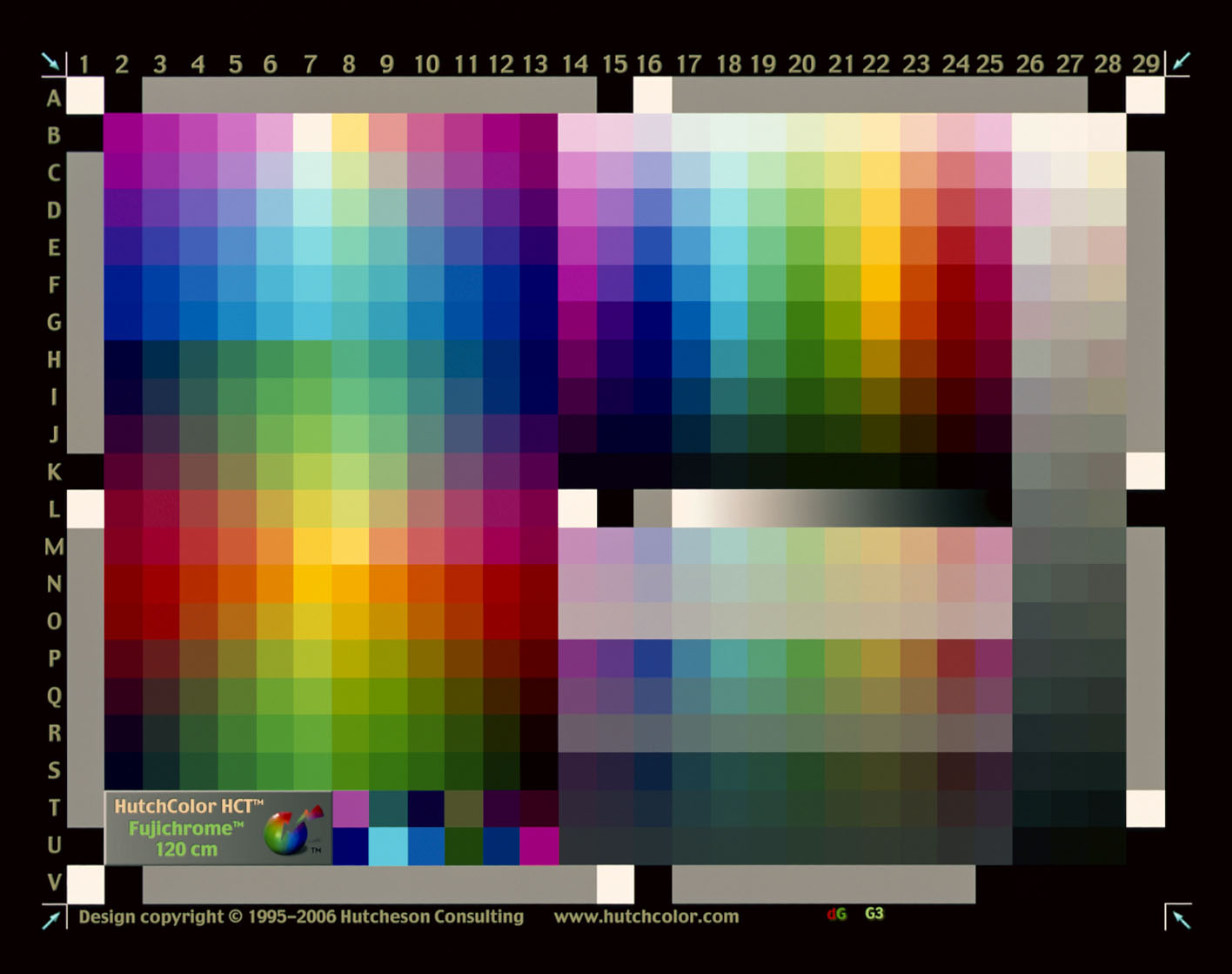 Corrected Color Target - The profile created is applied to the scanned image, correcting the colours. If you compare this image to the original target scan above, you can see the difference, especially in the saturated magentas and cyans (important for scanning colour negatives).