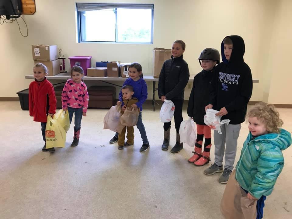 Children participating in the Easter Egg Hunt.