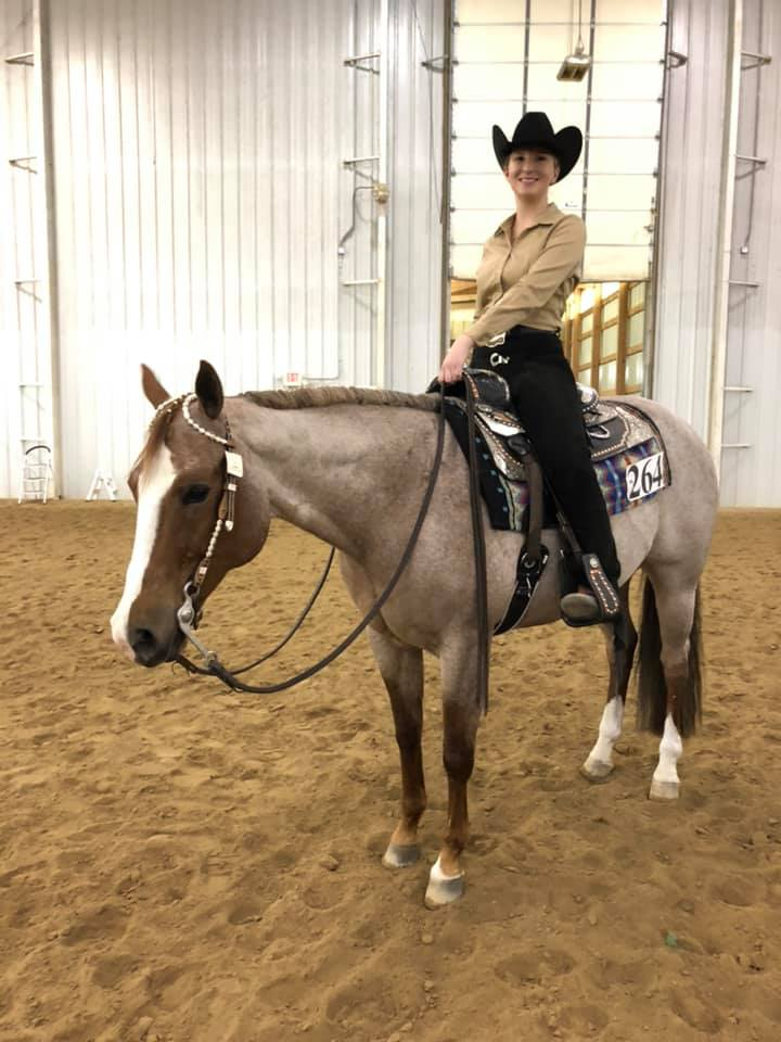 Riley Geiger & Hotroddin Ona Ranger won the $250 Non-Pro Horsemanship.