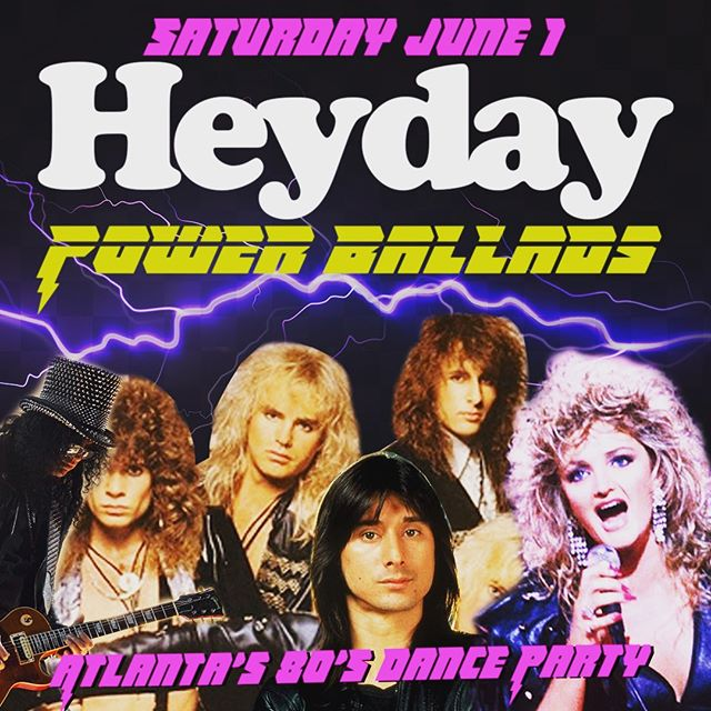 Heyday is back Saturday June 1 and we're going to be singing along to some quintessentially 80s power ballads throughout the night! We'll still play our  more upbeat songs but due to huge demand we're going to slow it down a couple times an hour and get way dramatic!! We'll have inflatable microphones for your lip synch and singalong pleasure! Bring your friends! Kimber is the DJ.