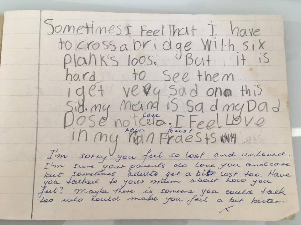 "- ""Sometimes I feel that I have to cross a bridge with six planks loose. But it is hard to see them, I get very sad on this side. My mum is sad and my dad does not care. I feel love in my rain forest"" Written in school in 1995."