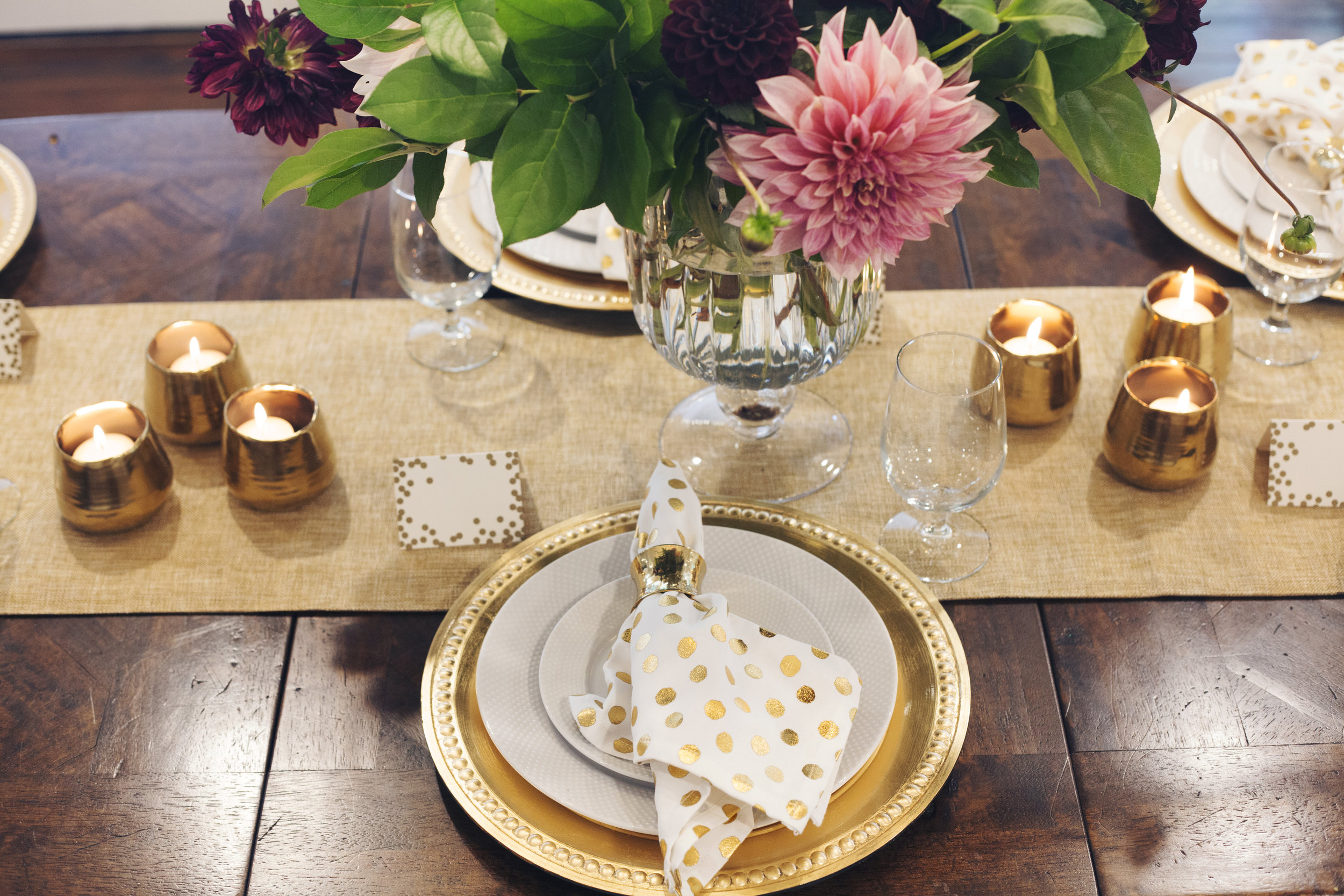 Full Table Setting Golden New Year