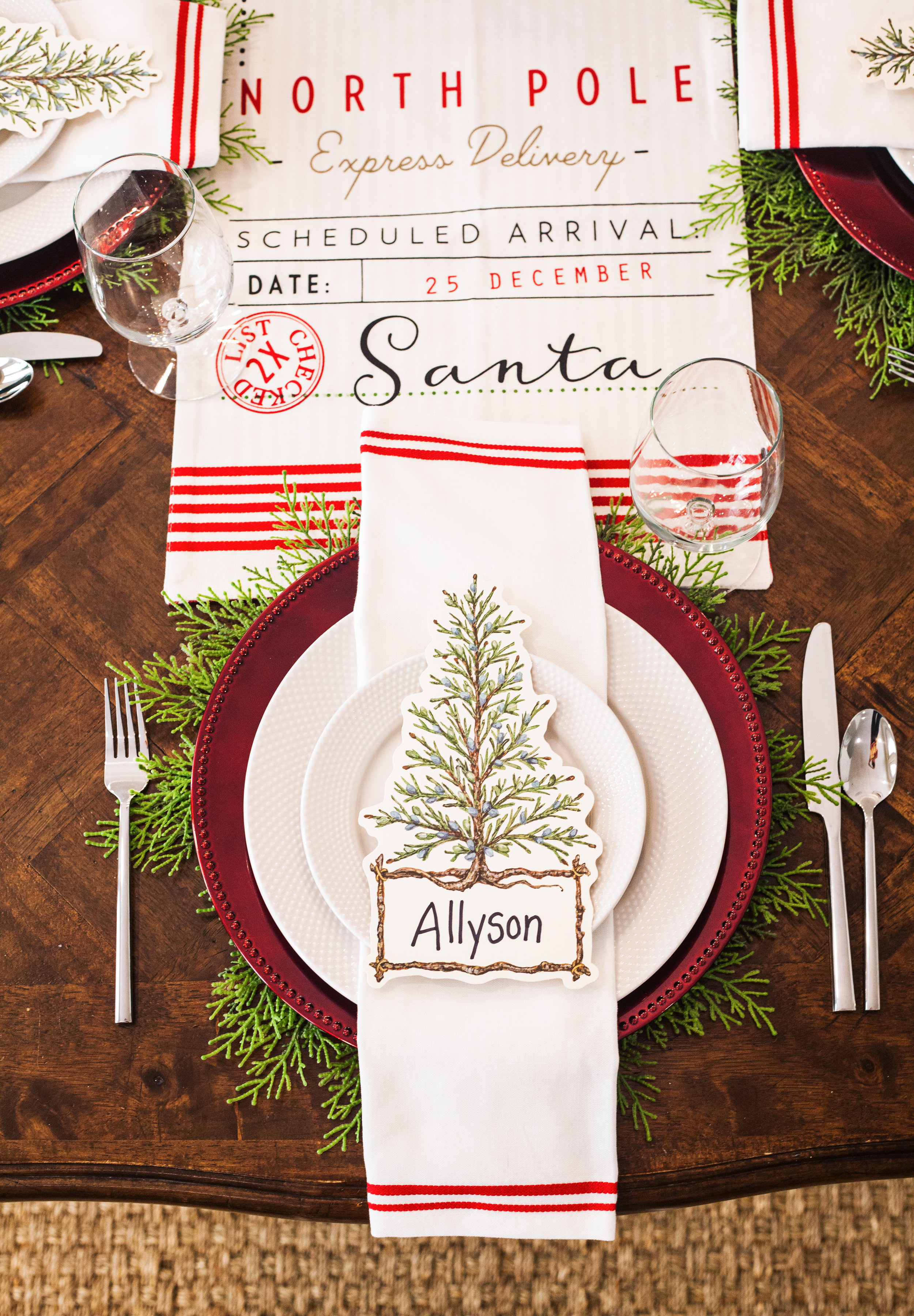 Table setting rental, Oh What Fun (Christmas Holiday)